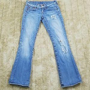 True religion light wash destroyed jeans